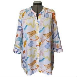Arty Abstract print 3/4 sleeve Tunic blouse 14